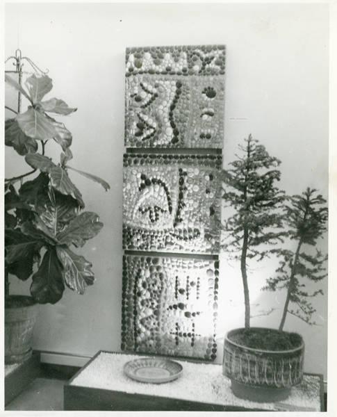 Interior [i.e. Interiors] Pavilion; stone panel by Jean Johanson