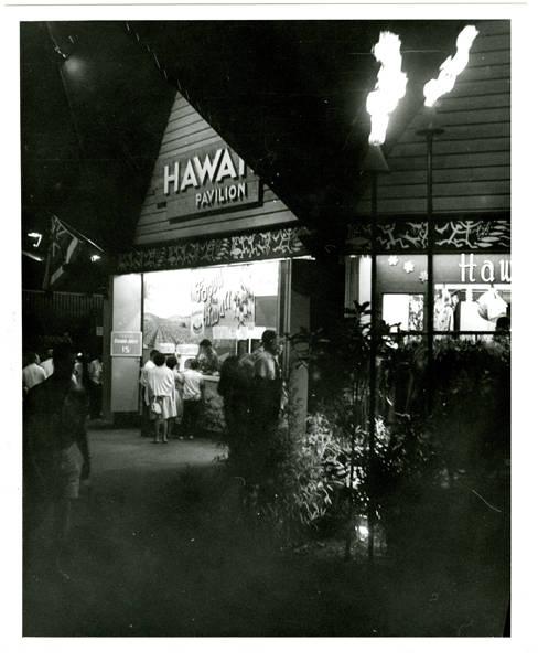 Hawaii Pavilion at night; View S.E.