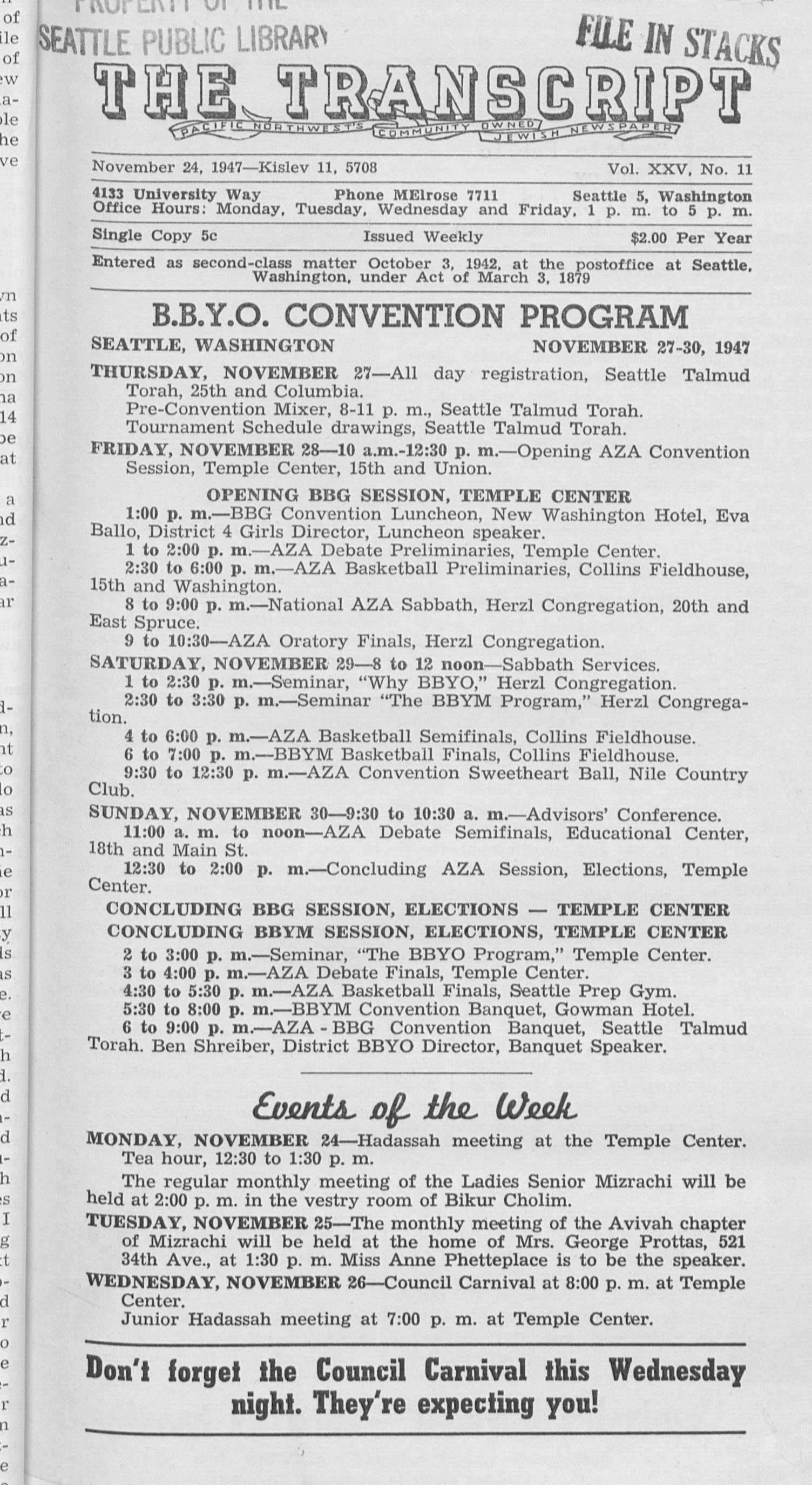 Jewish Transcript, v. 25, no. 11,  Nov. 24, 1947