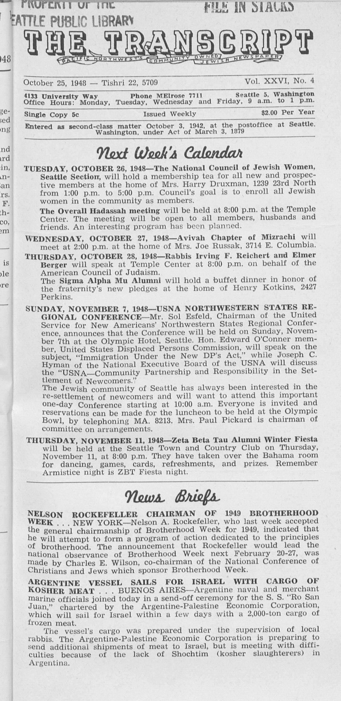 Jewish Transcript, v. 26, no. 4,  Oct. 25, 1948
