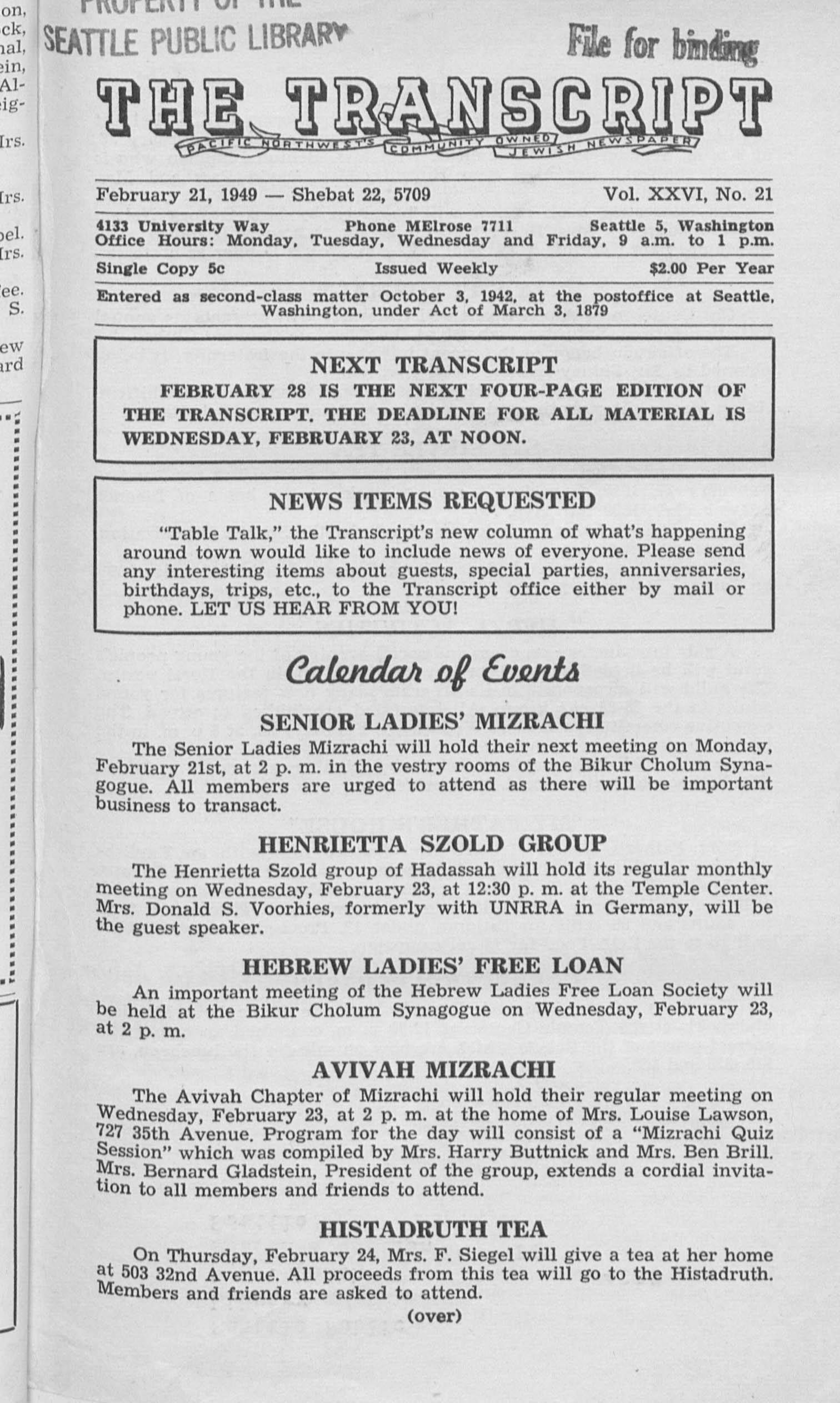 Jewish Transcript, v. 26, no. 21,  Feb. 21, 1949