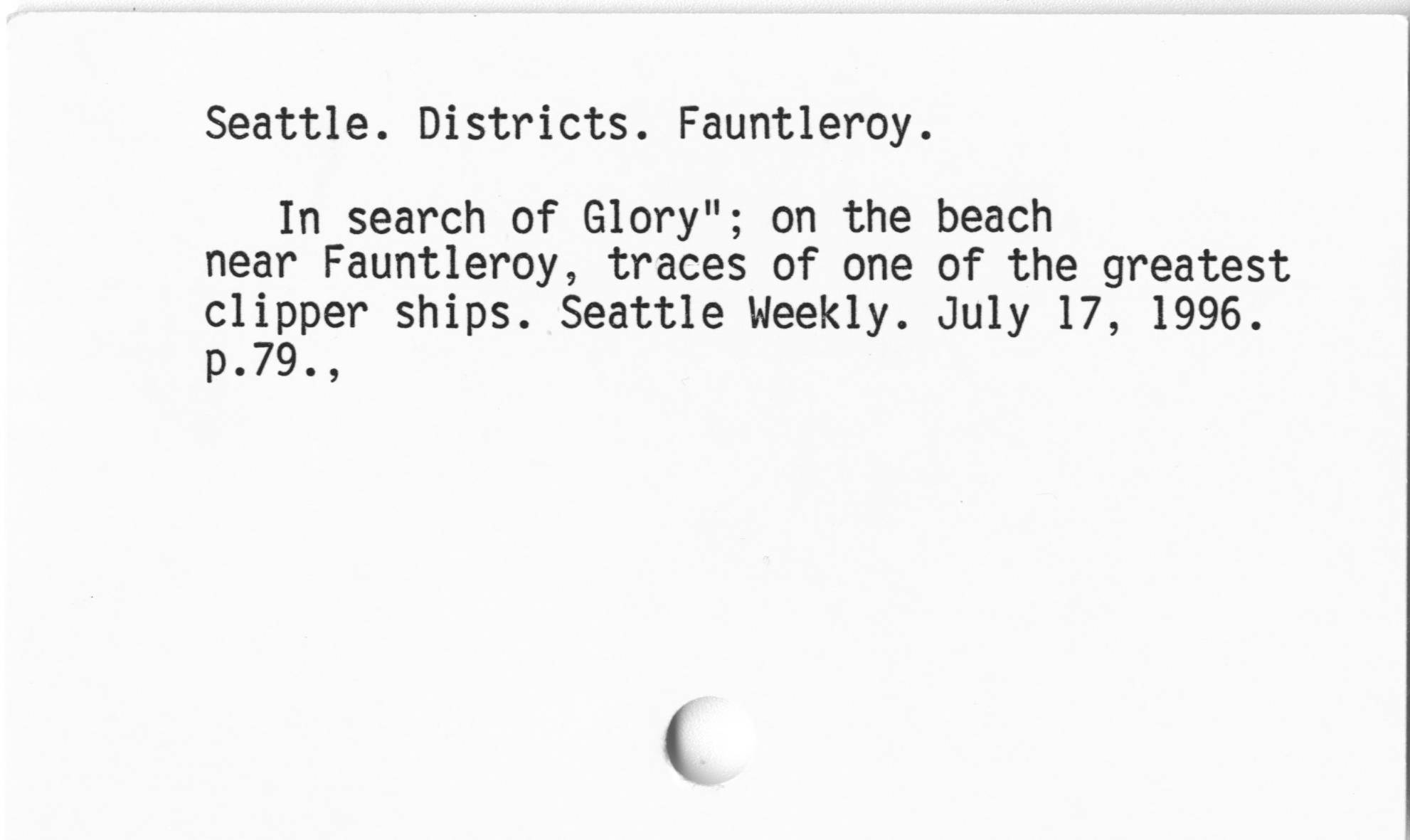 Seattle. Districts. Fauntleroy.