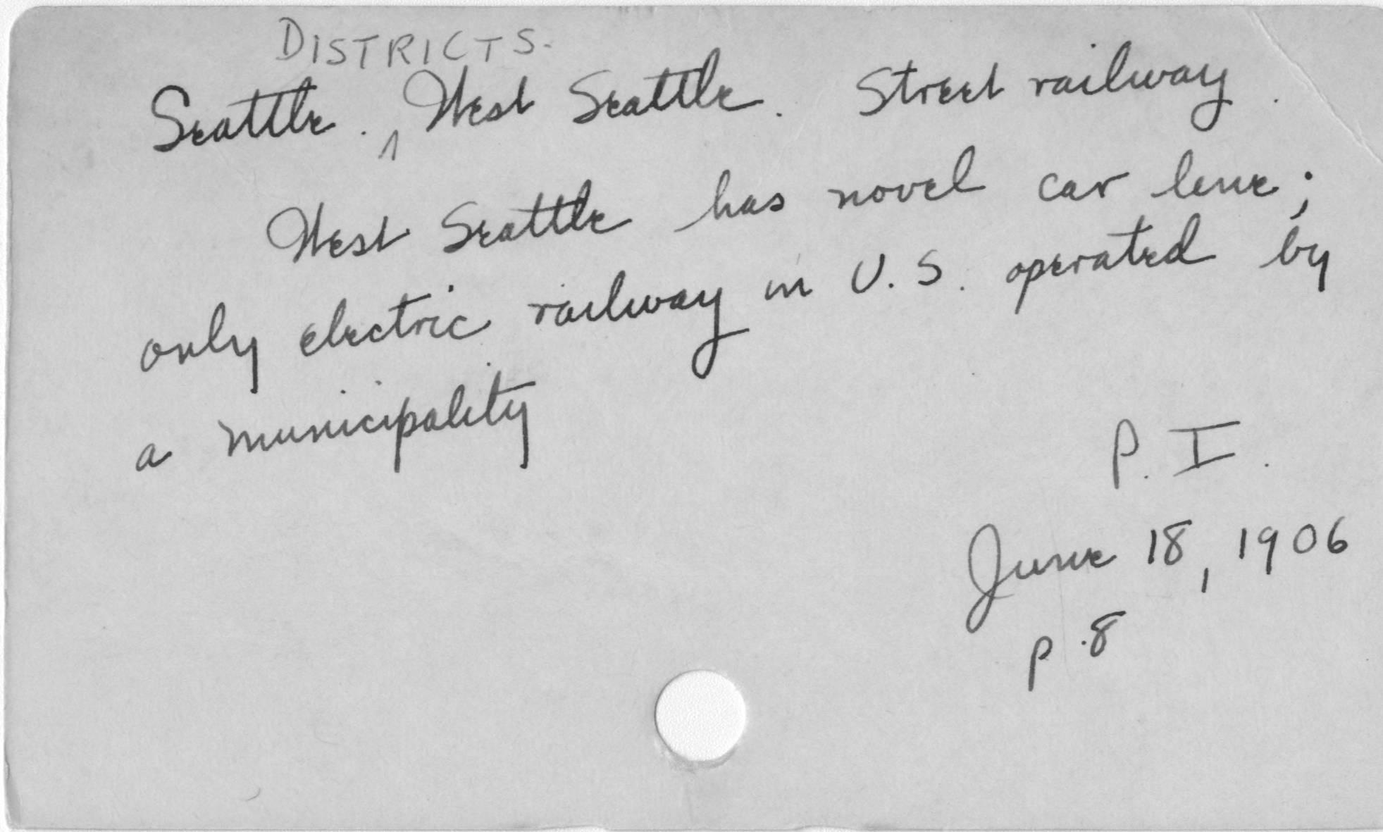 Seattle. Districts. West Seattle. Street Railway.