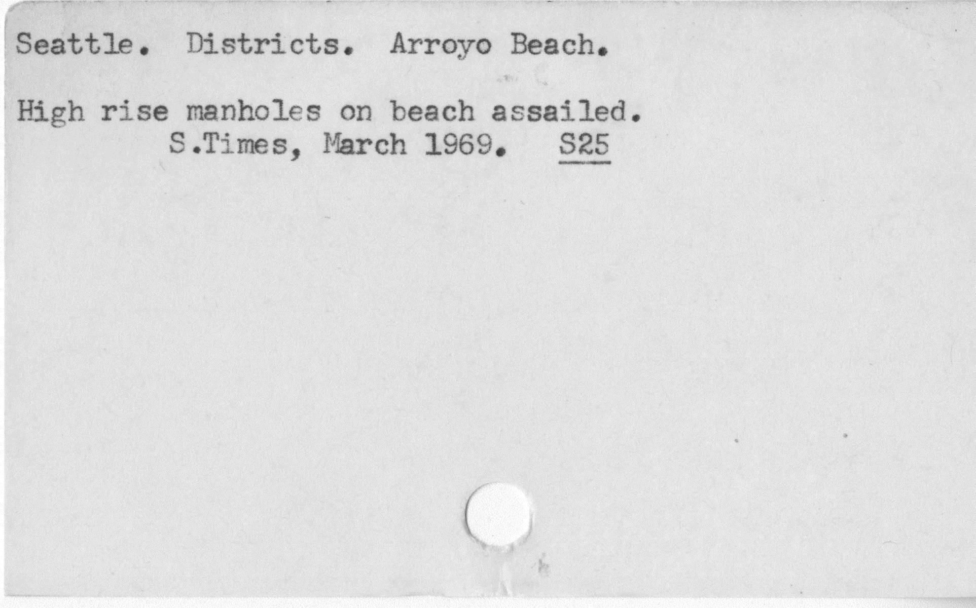 Seattle. Districts. Arroyo Beach.