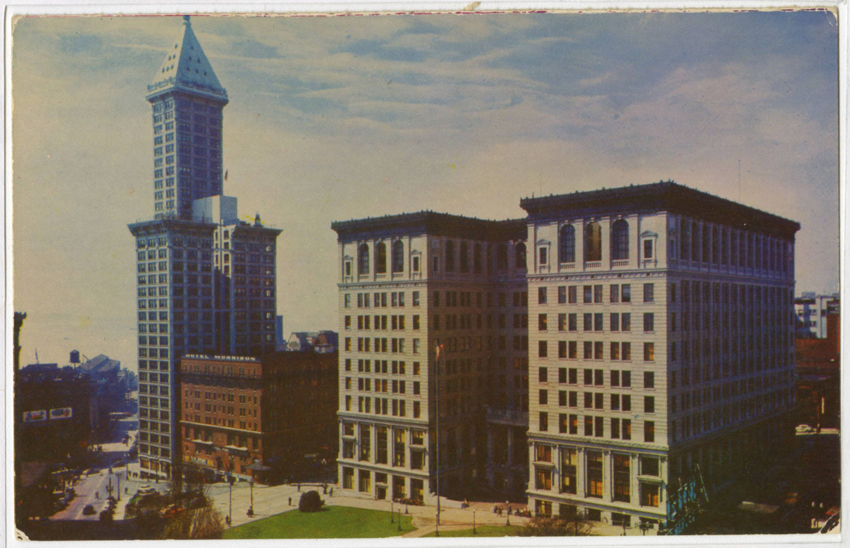 Smith Tower, Court House and City Hall, ca. 1950