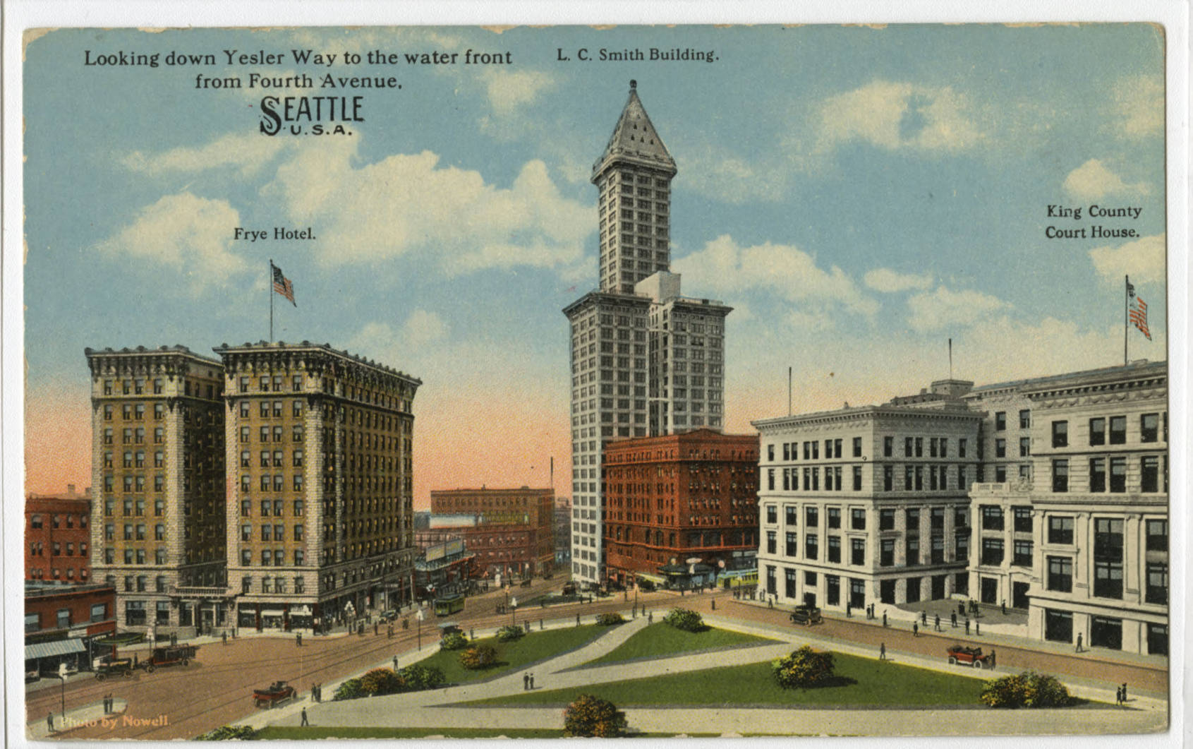 City Hall Park, Frye Hotel and Smith Tower, ca. 1915