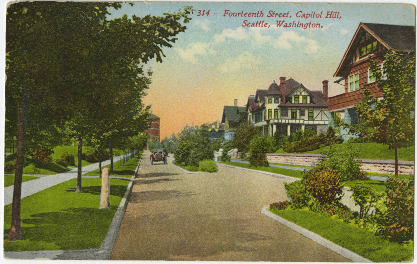 14th Ave. N. looking north to Volunteer Park water tower, ca. 1913