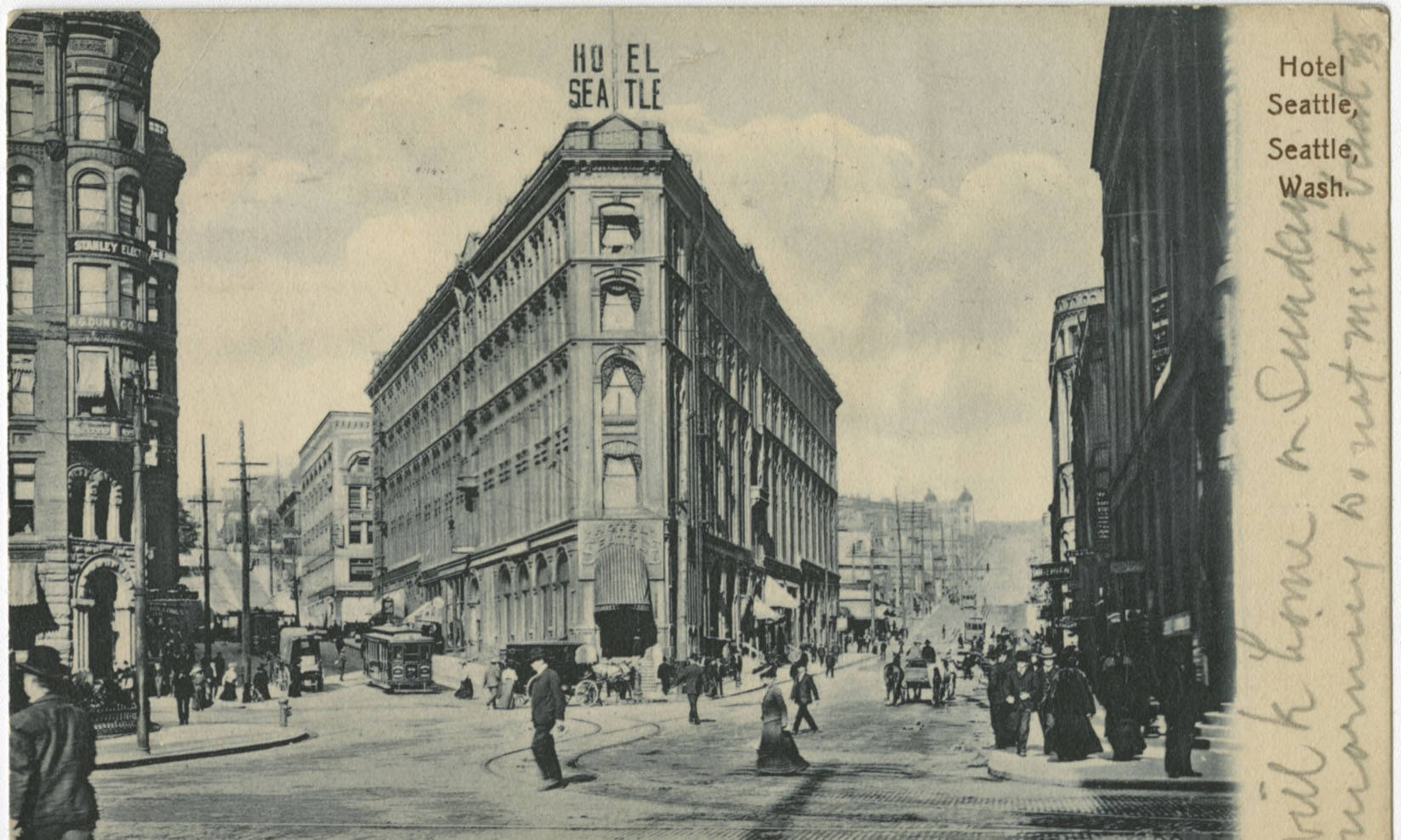 Hotel Seattle at James St. and Yesler Way, March 1, 1907