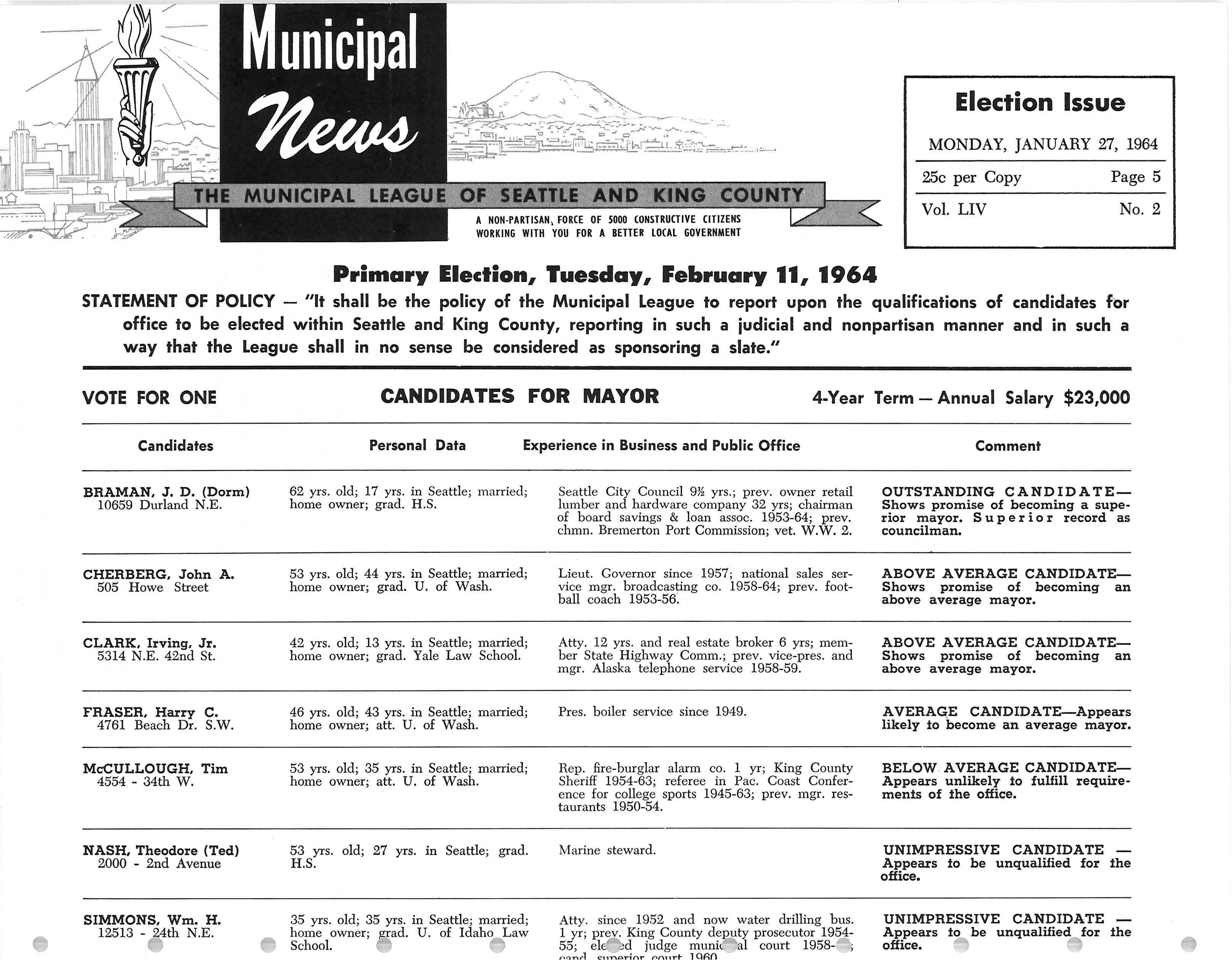 Municipal News, v. 54, no. 2, Jan. 27, 1964