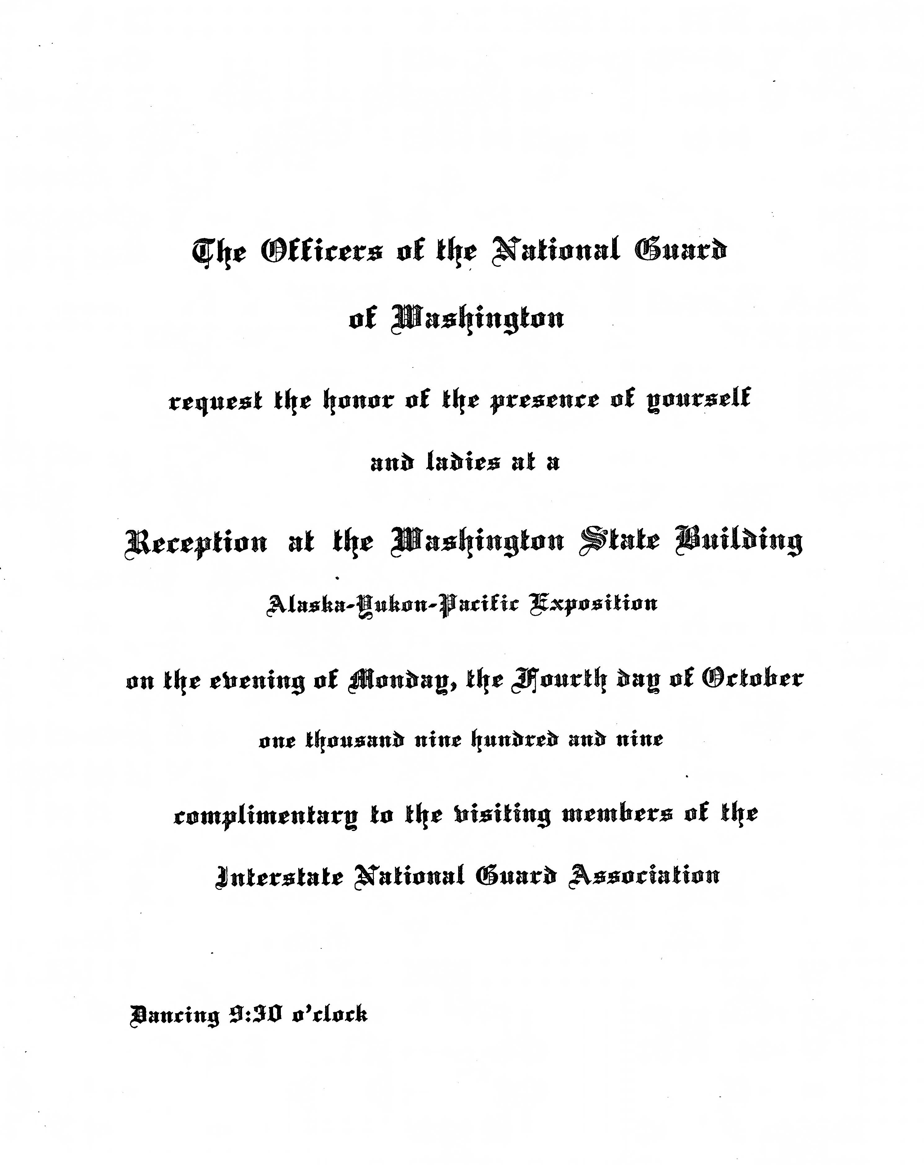 Invitation from the Officers of the National Guard of Washington to a reception for the Interstate National Guard Association at the Washington State Building on 4 October 1909