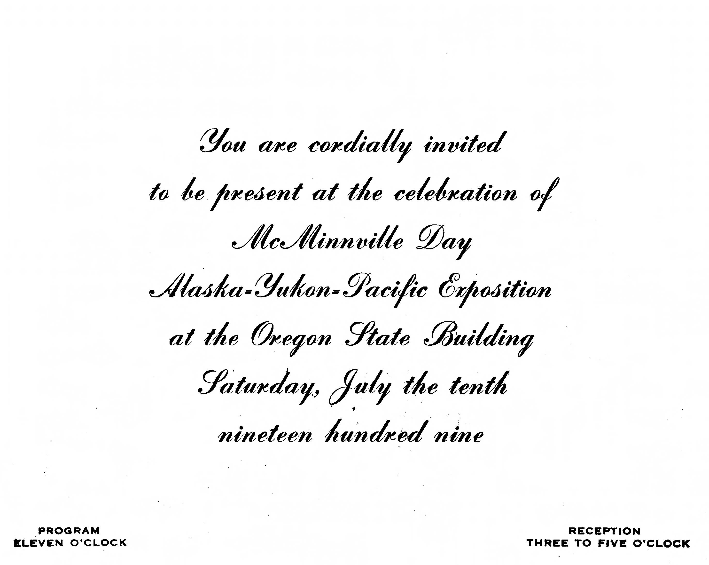 Invitation to the celebration of McMinnville Day at the Oregon State Building on 10 July 1909
