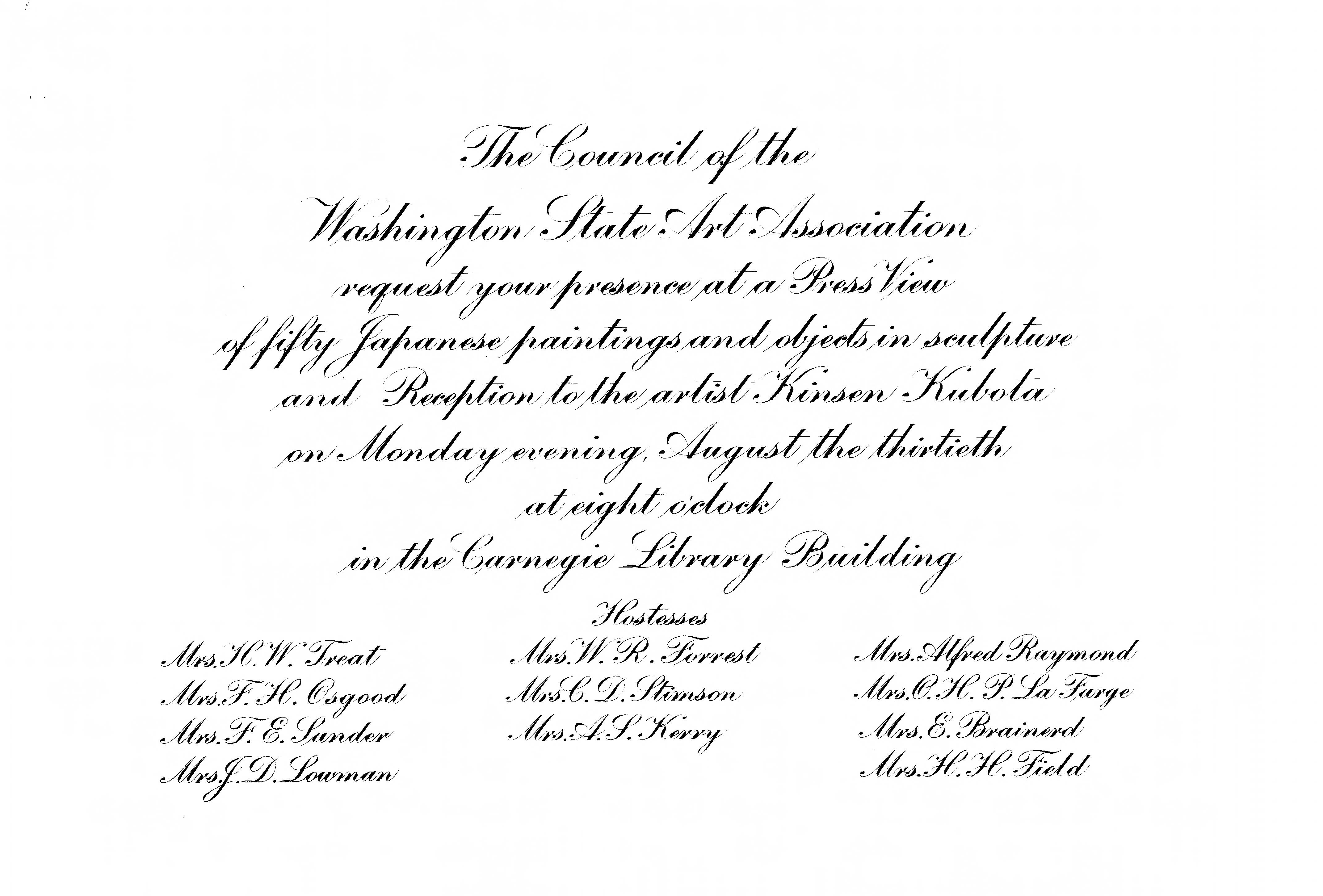 Invitation from the Washington State Art Association to a press viewing of Japanese paintings and sculptures and a reception for artist Kinsen Kubota at the Carnegie Library Building on 13 August 1909