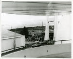 View of Space Needle crowd; Monorail train in back