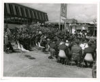 32nd Inf. Division; Wisconsion [i.e. Wisconsin] National Guard band playing; Plaza of States