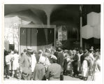 Crowds at United Nations Pavilion on dedication day; View N.W.