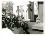 United Nations Pavilion on dedication day; Washington State Gov. A.D. Rosellini in light suit;...