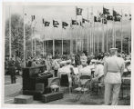 10th anniversary of World's Fair 1962; View N.E. across flag plaza, World's Fair Band bottom right