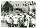 Plaza of the States: World's Fair Band: View N.E. Band Leader J. Souders talking to small boy;...