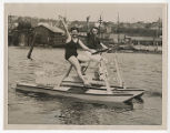 Women in paddleboat on Lake Union, May 15, 1935 :: Seattle Historical Photograph Collection