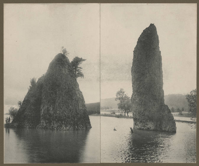 'Needles' rock formations on Columbia River, ca. 1900