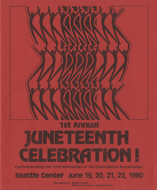 Program of schedule of events for first annual Juneteenth celebration held in 1980 at Seattle Center.