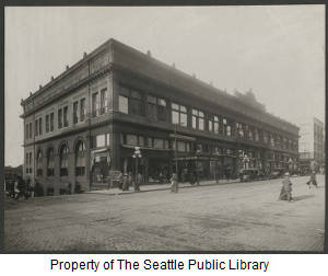 3rd home of Seattle Public Library in the Rialto Building, ca. 1896