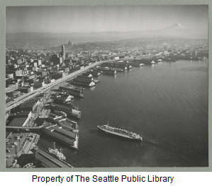 View SW to Seattle waterfront, ca. 1956