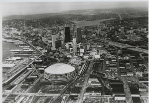 Aerial view of Seattle looking north, ca. 1977